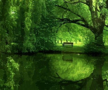 lake, pond, park, trees, bench, rendering, rendering, visualization, wallpapers