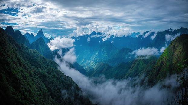 горы, небо, облака, пейзаж