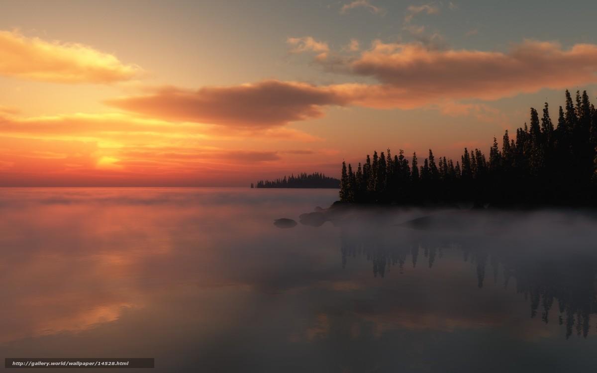одеколоны закат на озере туман картинка