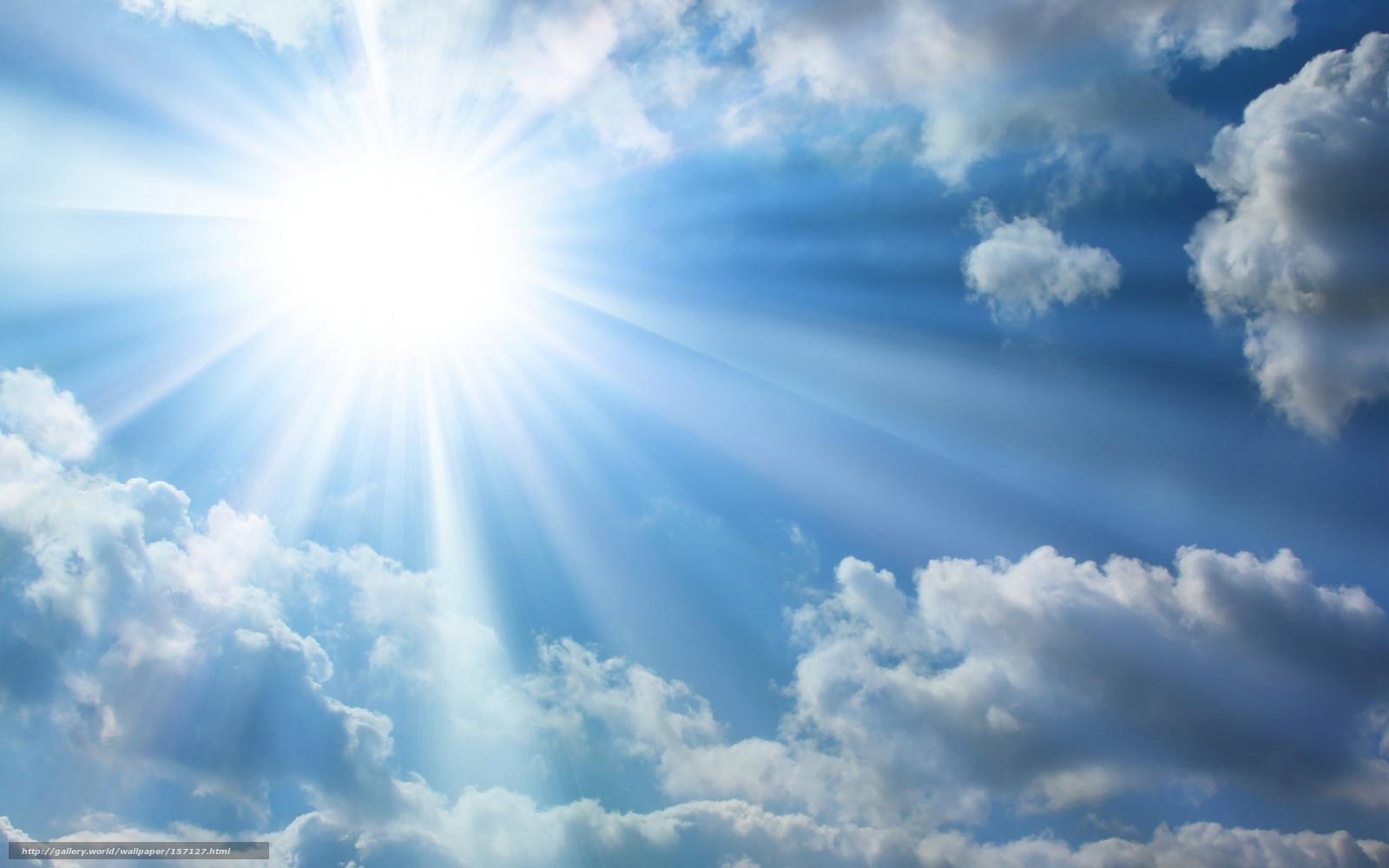небо, солнце, облака, лучи