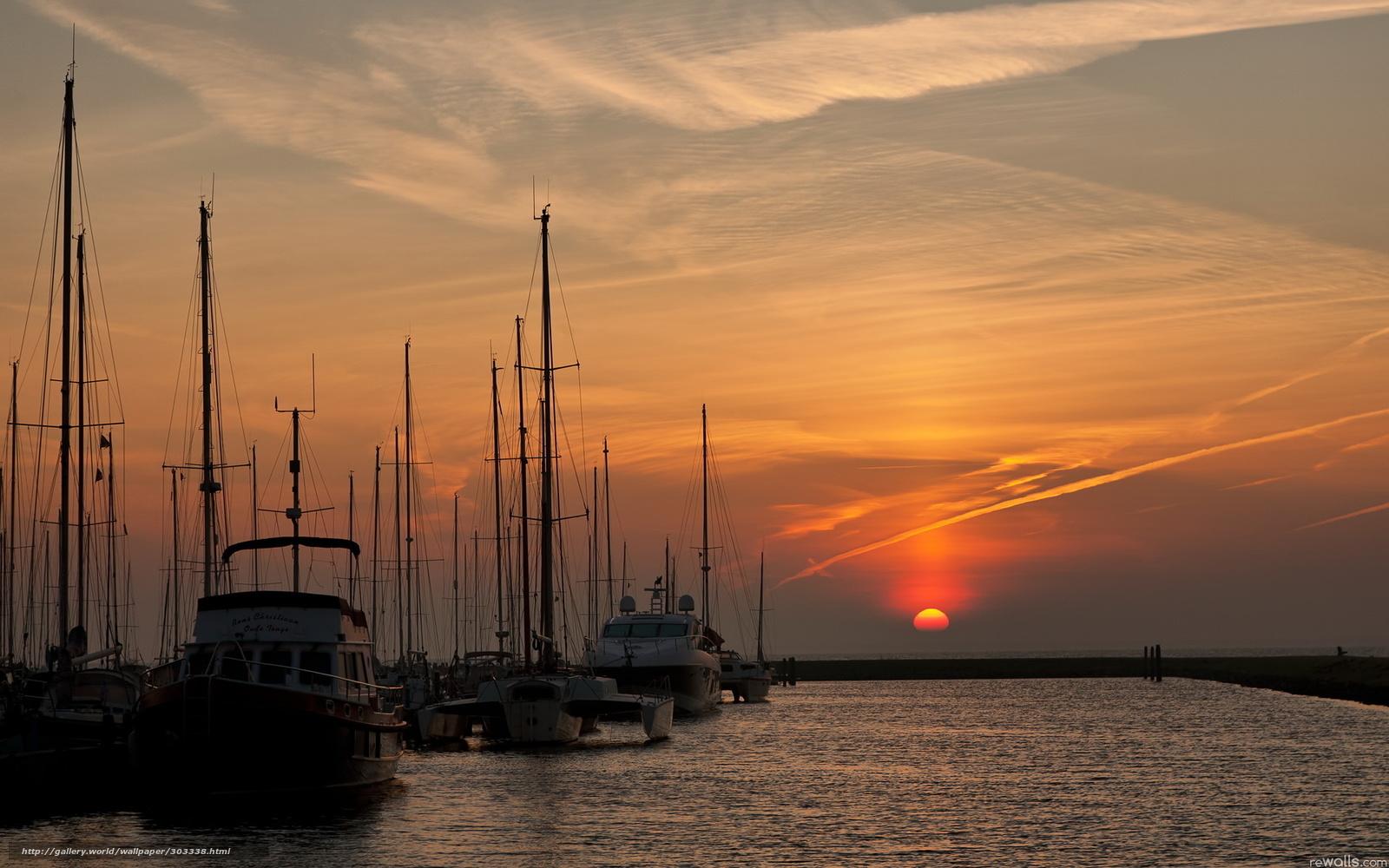 пейзаж лодка на закате