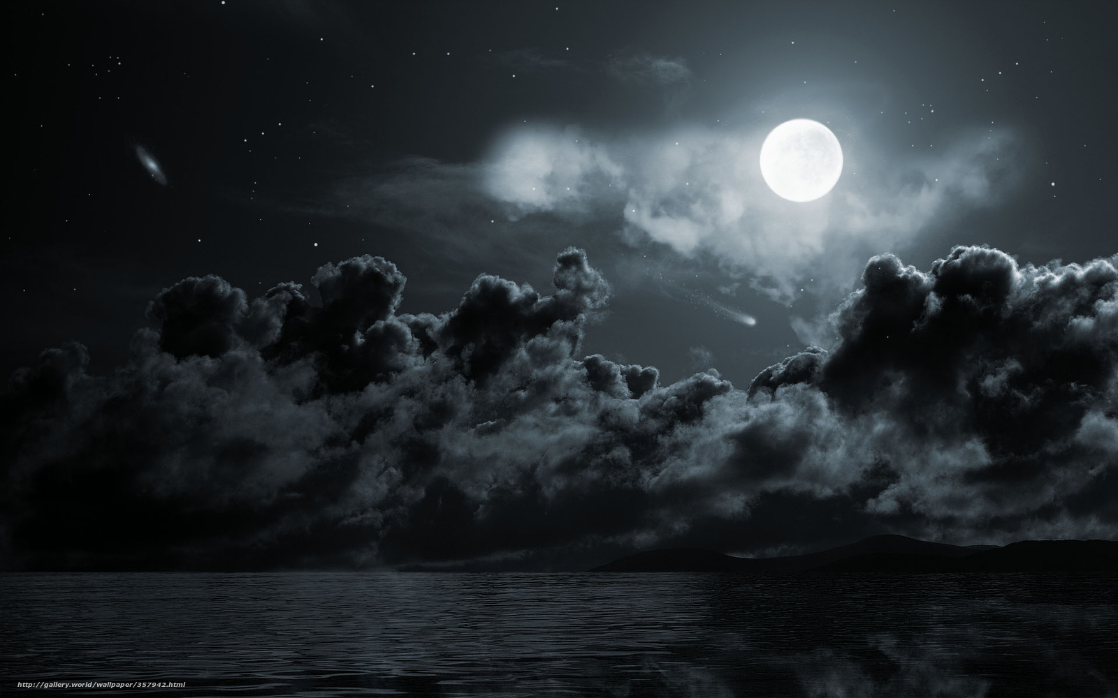 night, moon, sea, clouds