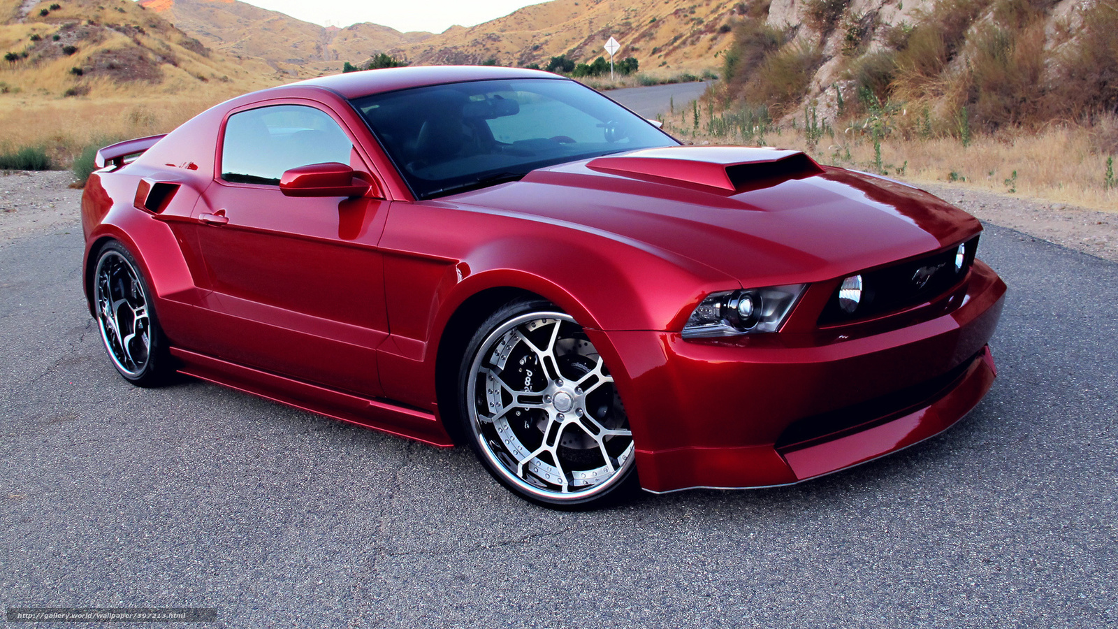 Ford Mustang GT, red, tuning, Wide Body Kit, Rims, cars, machinery, Car