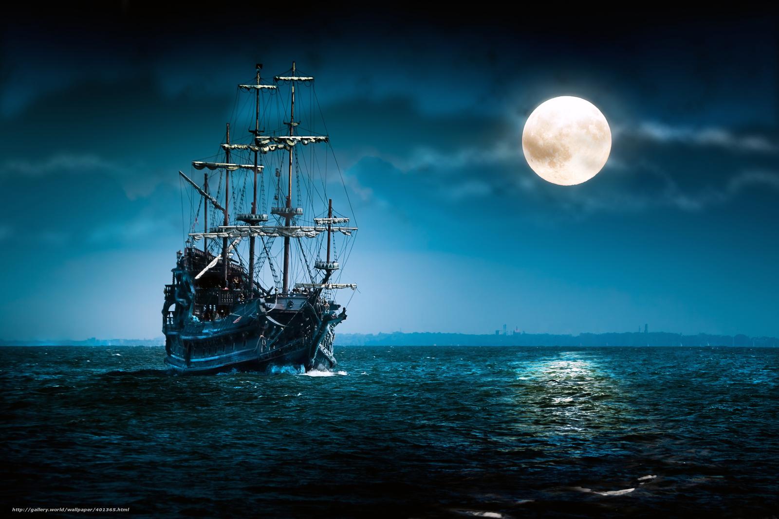 море, ночь, полнолуние, облака, корабль, плавание