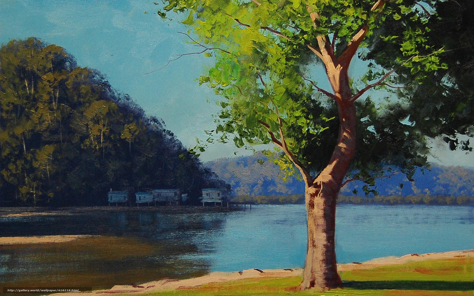 картина с лодкой и деревом на переднем плане пейзаж