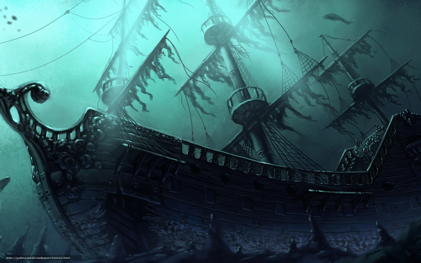 Ghost pirate ship deck background