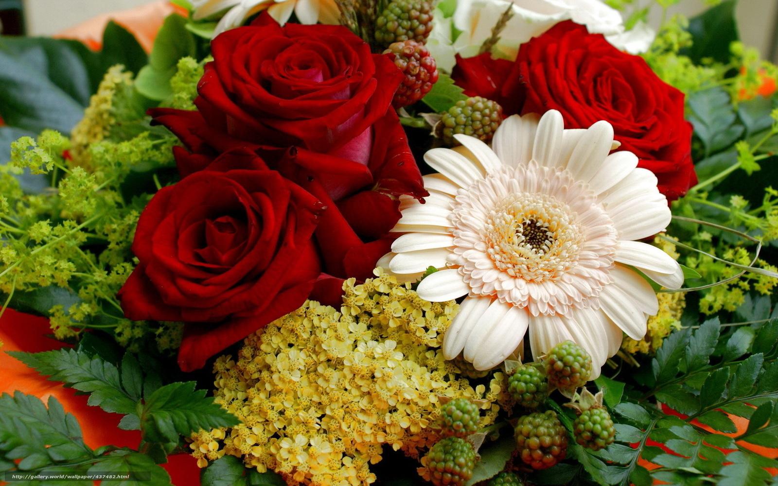 Фото букет цветов на рабочем столе