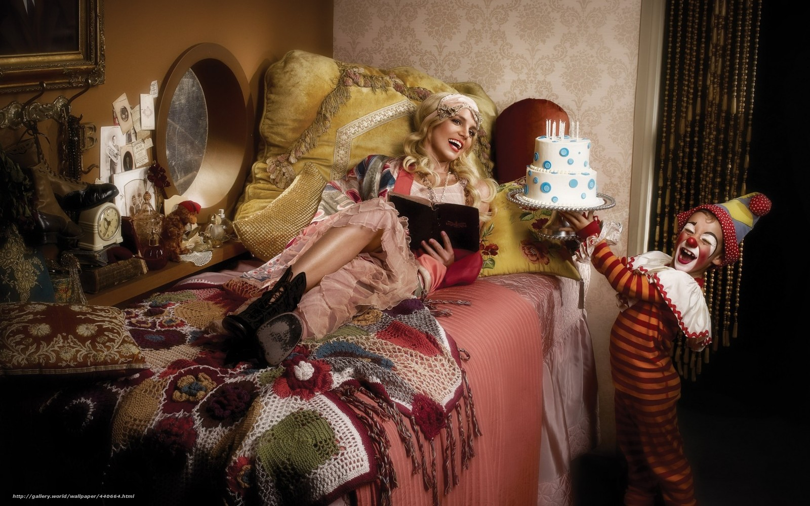 singer, Britney Spears, girl, cake, clown, bed, music