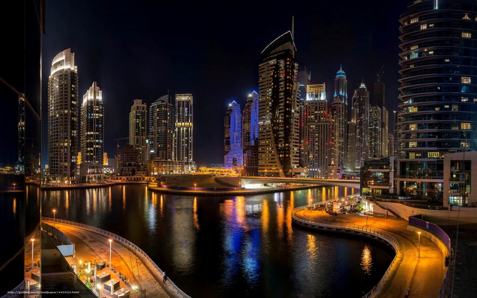 Dubai, dubai, UAE, city, night, building, Skyscrapers, high-rise, sea, road, bridge
