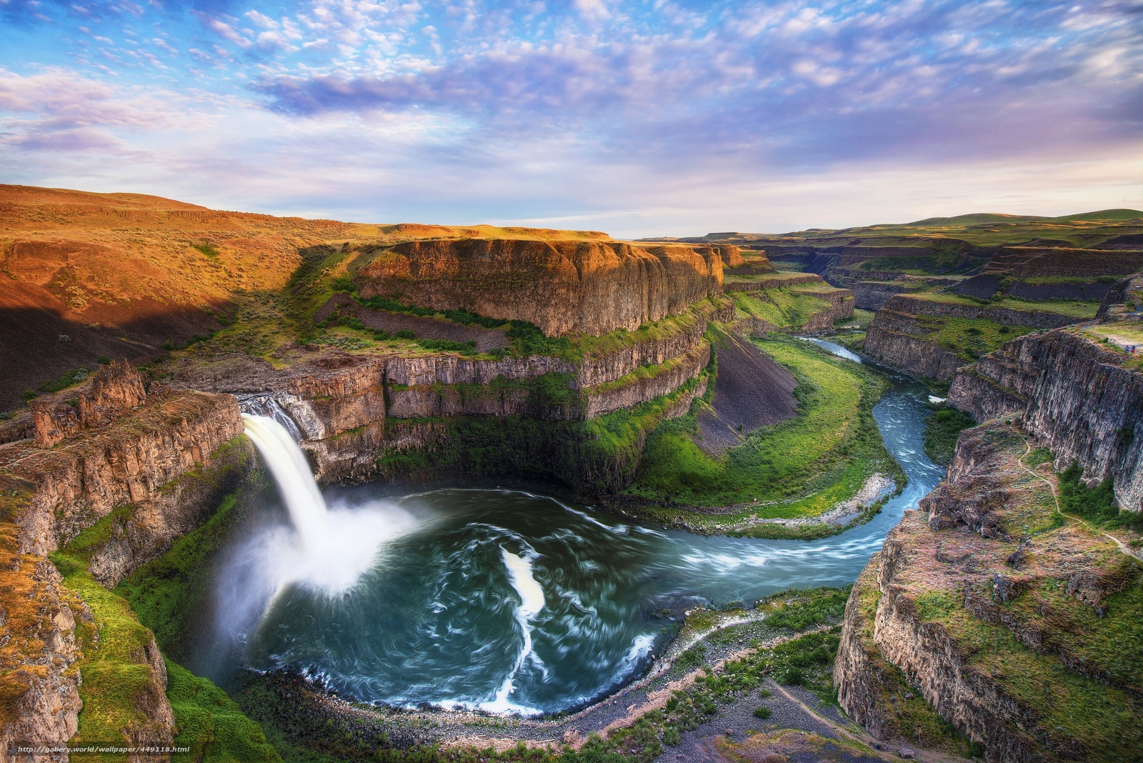 palouse falls, waterfall, flow, rocks, river