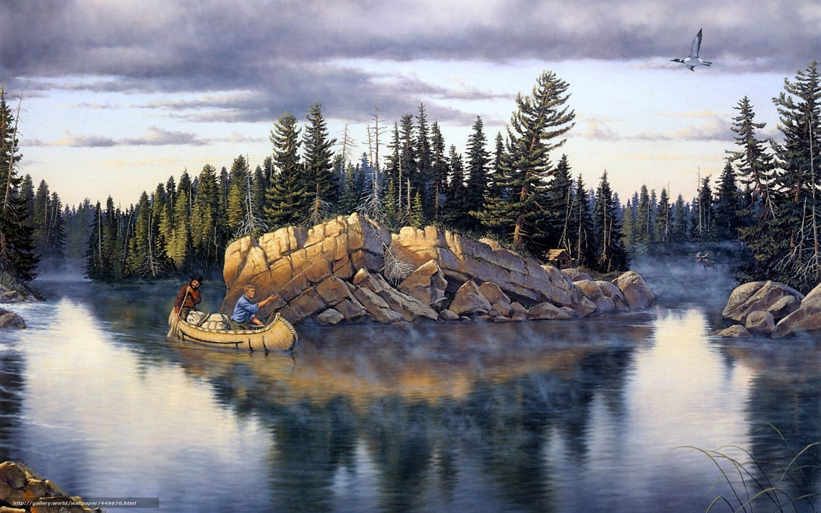 Рисунки рыбалка лес