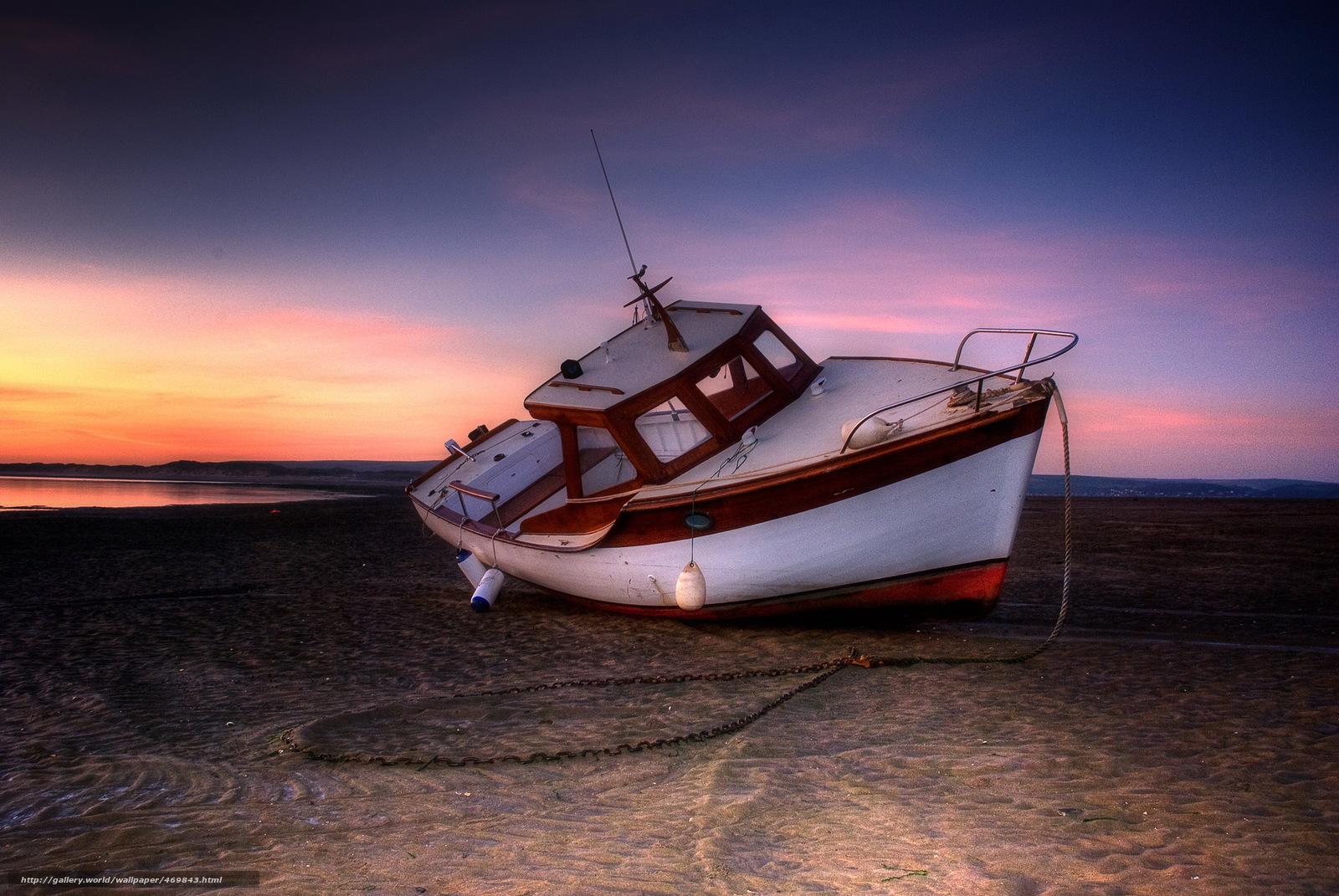 одинокая лодка песок