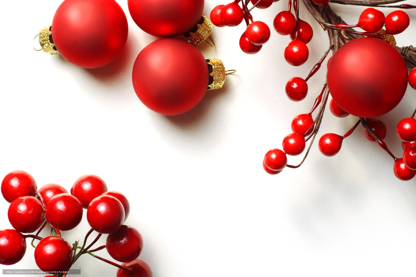 Balls, red, Balls, Christmas, Toys, branch, Berries, holly, New Year, Christmas, New Year
