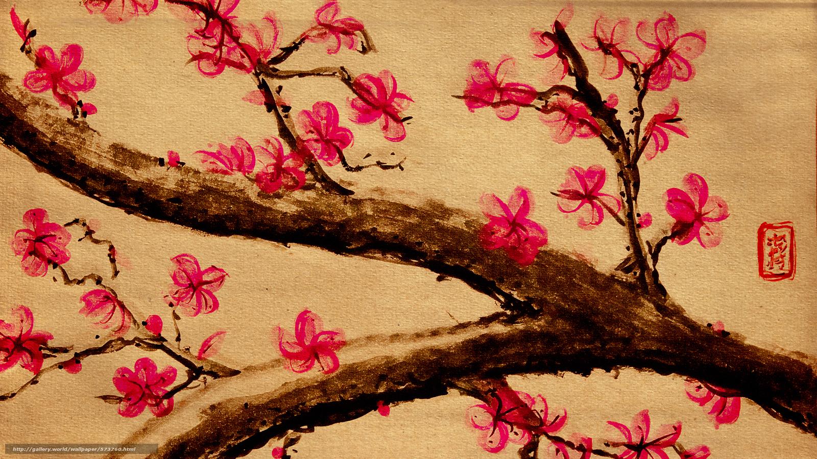 drawing, Sakura, Flowers, tree, BRANCH