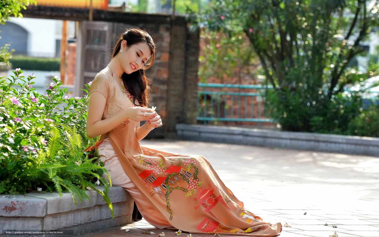 фото азиатки на улице природе