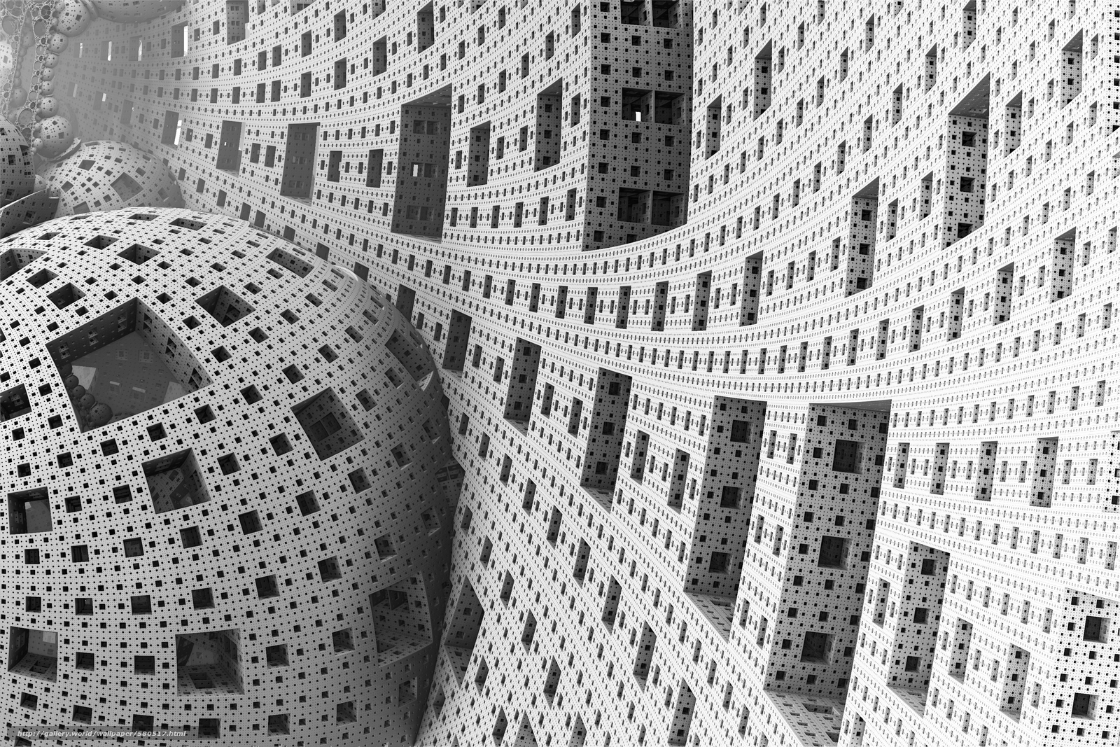 кубы, искажение, рендер, клетки, шары