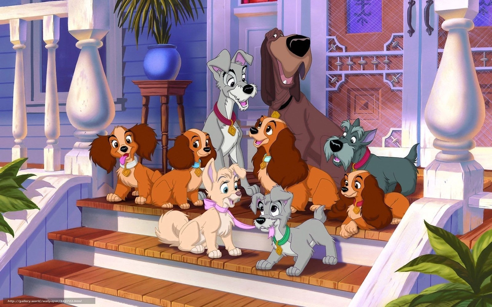 Characters, Heroes, lady, Puppies, Tramp, cartoon, Cartoon, Dog, Trustee, Jock, porch, Lady and the Tramp, home