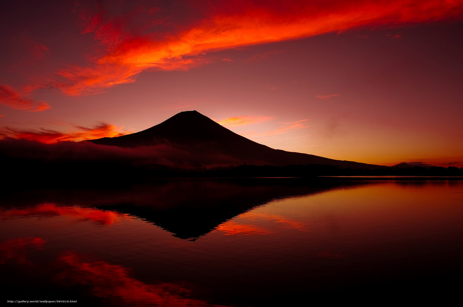mountain, volcano, Fuji, sky, lake, Japan