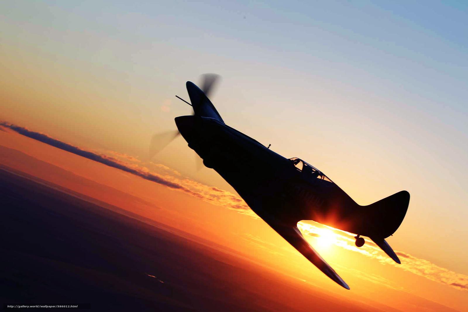 plane, sunset, wings, fighter, flight, sun, sky, aviation, landscape