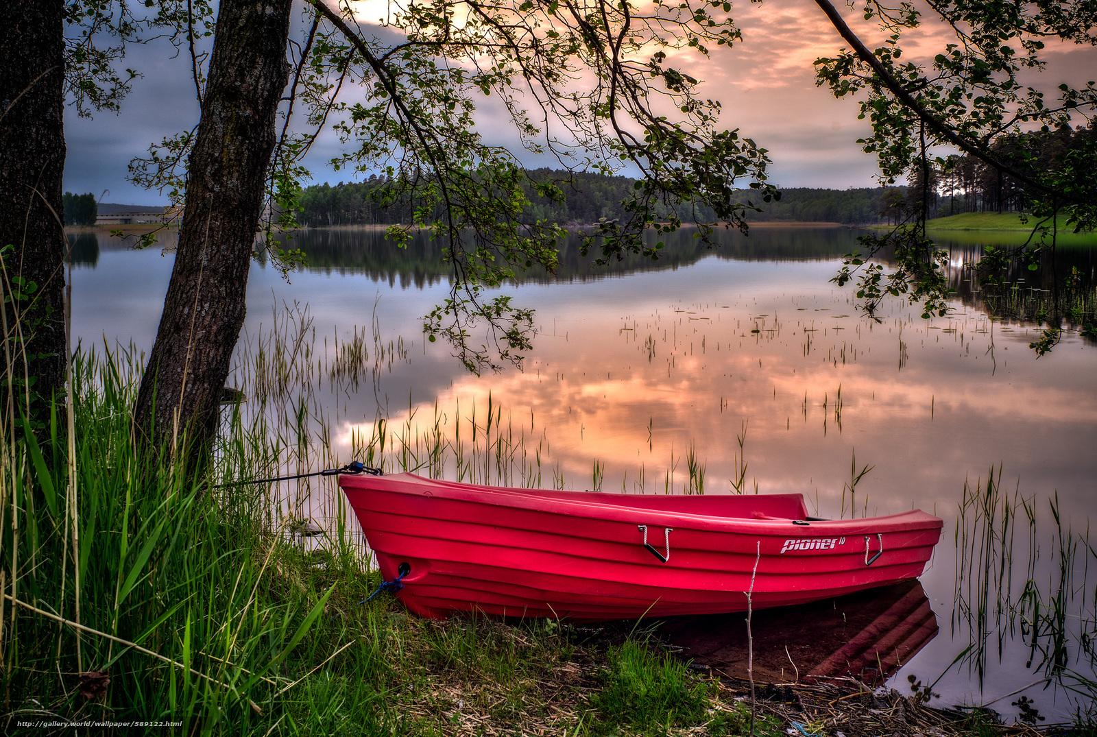 пейзаж с лодками фото