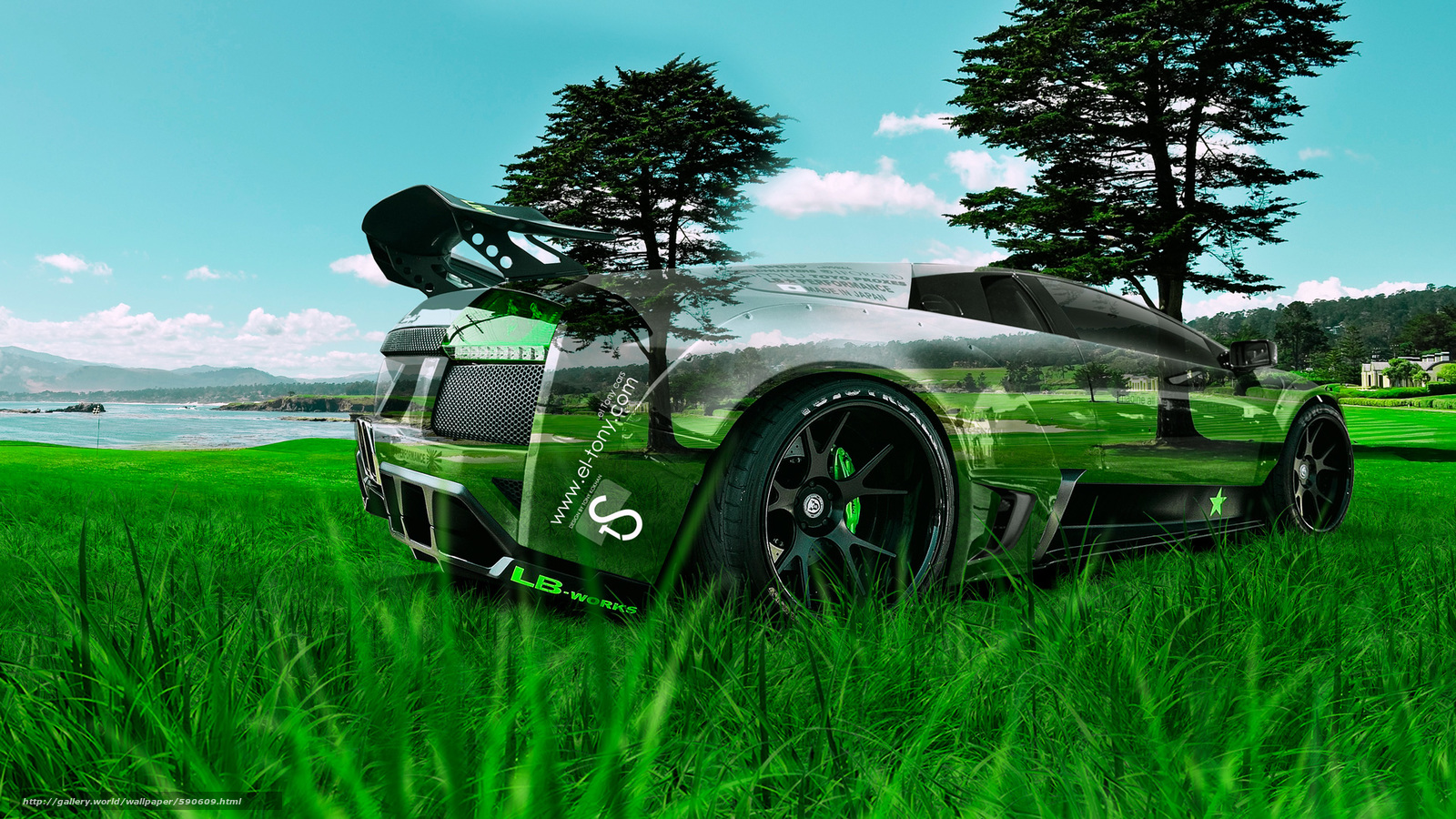 Merveilleux Tony Kokhan, Lamborghini, Murcielago, LB Works, Crystal, Nature, Green,  Grass, Tuning, Style, Photoshop, El Tony Cars, Tony Cohan, Photoshop,  Style, ...