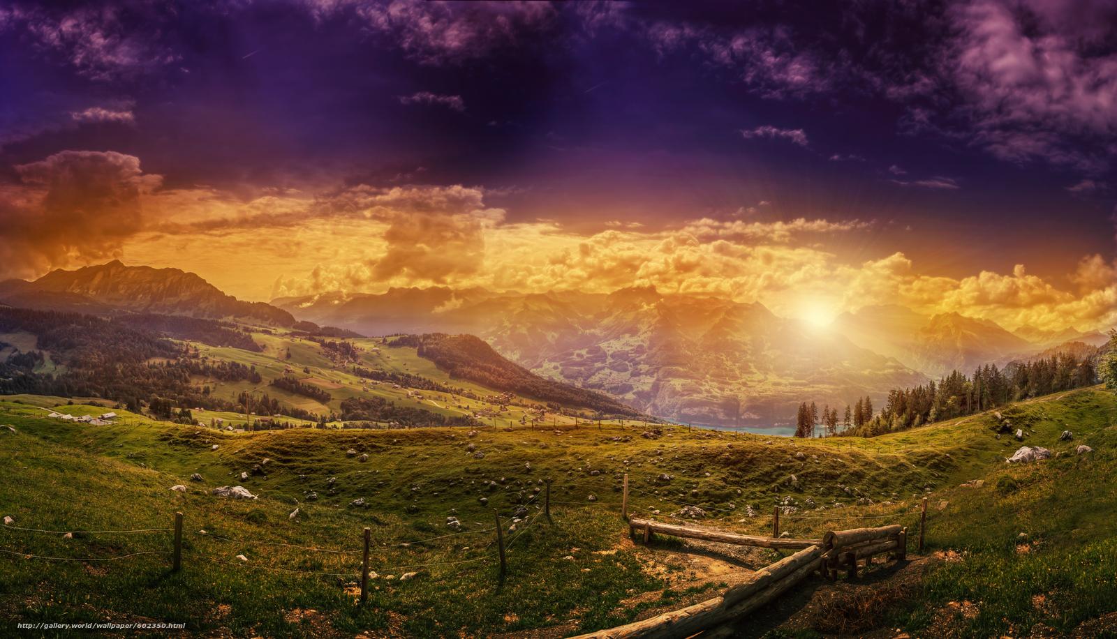 закат, горы, холмы, озеро, деревья, пейзаж
