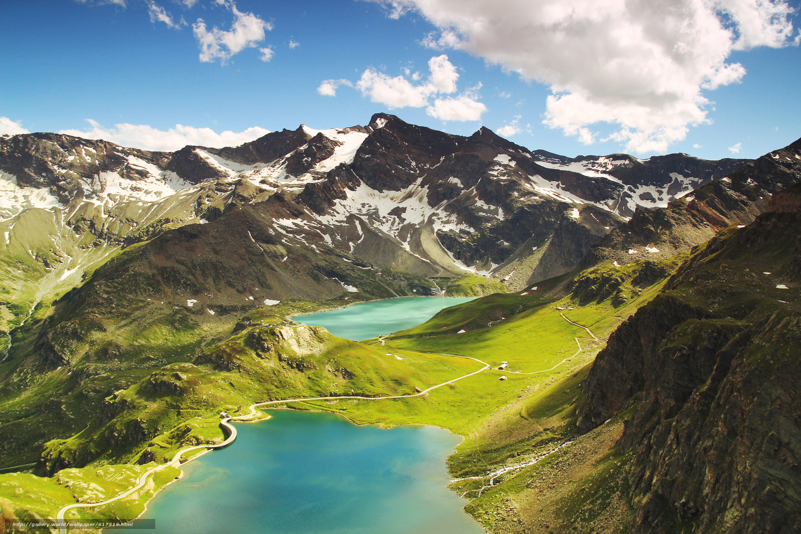 Ceresole Reale, Italy, mountains, lake, hills, clouds