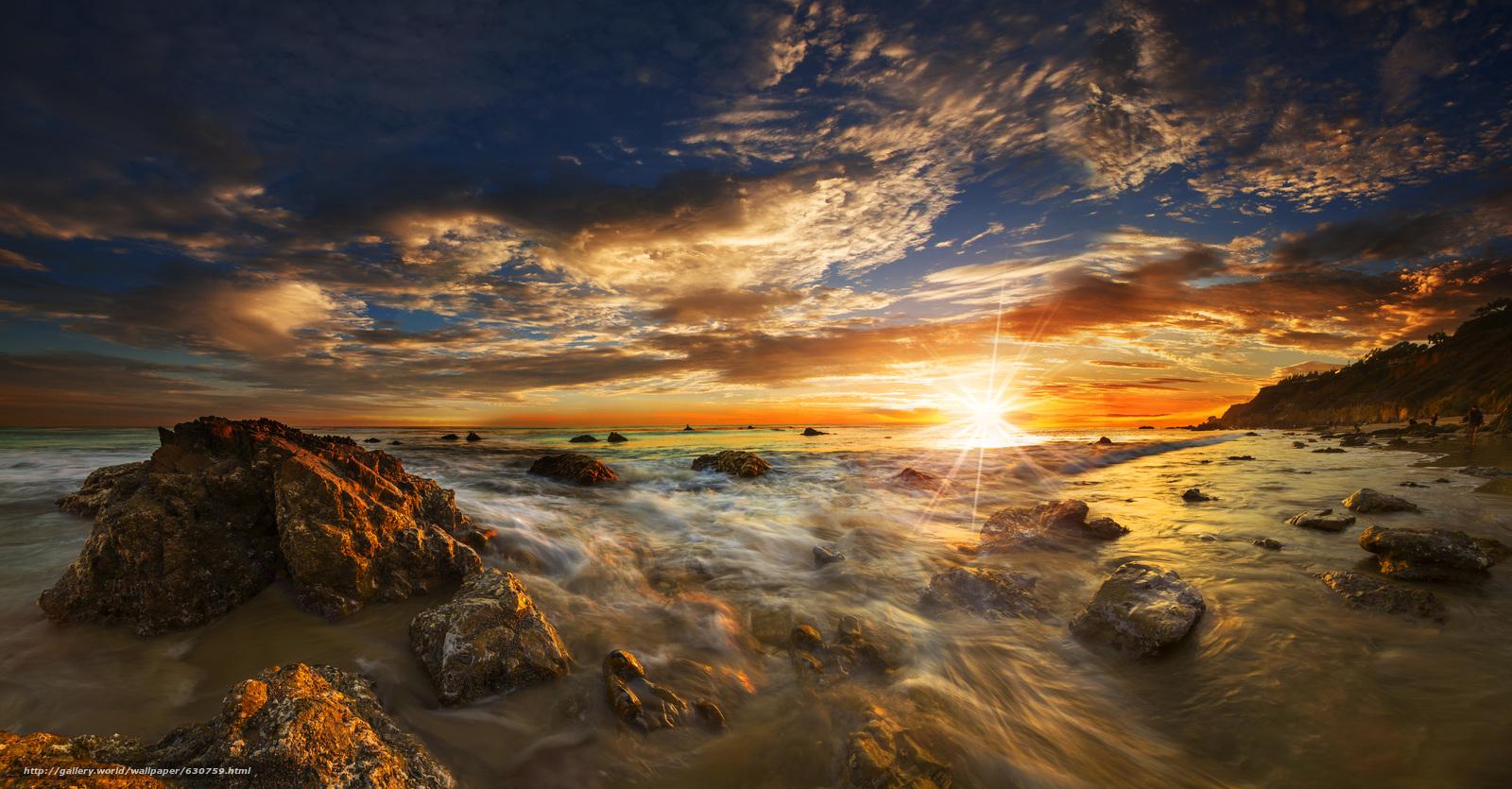 Malibu, Sunet, more.zakat, shore, landscape