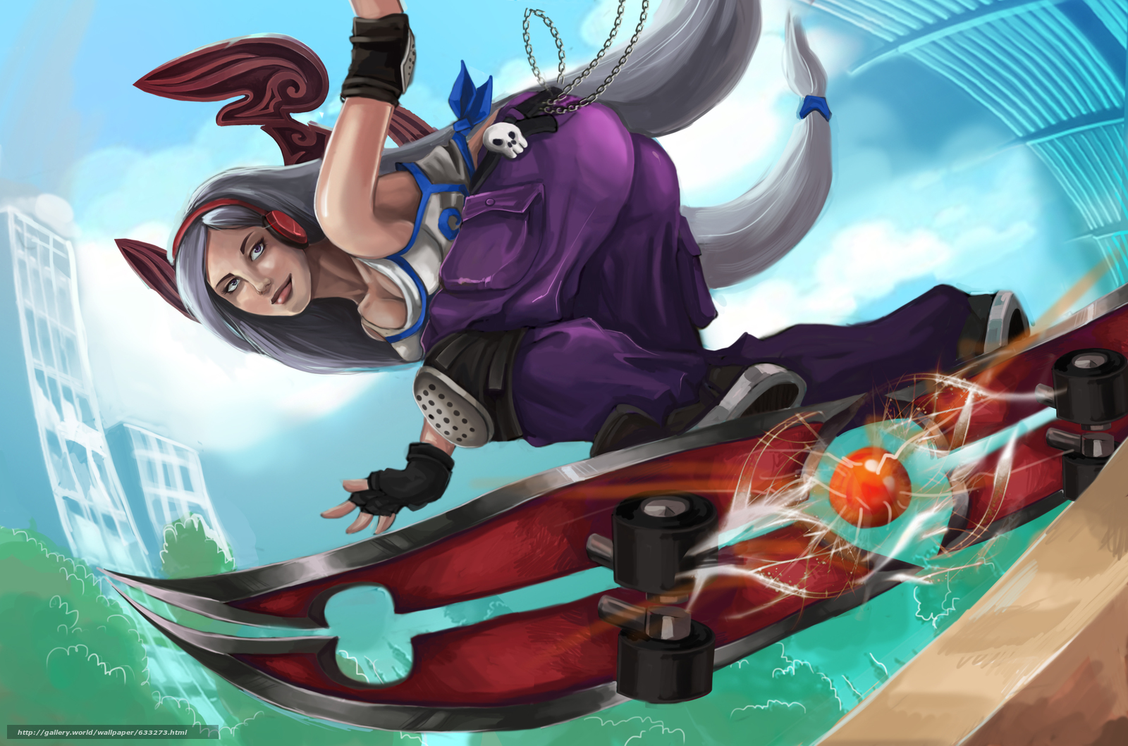 skateboard, girl, anime