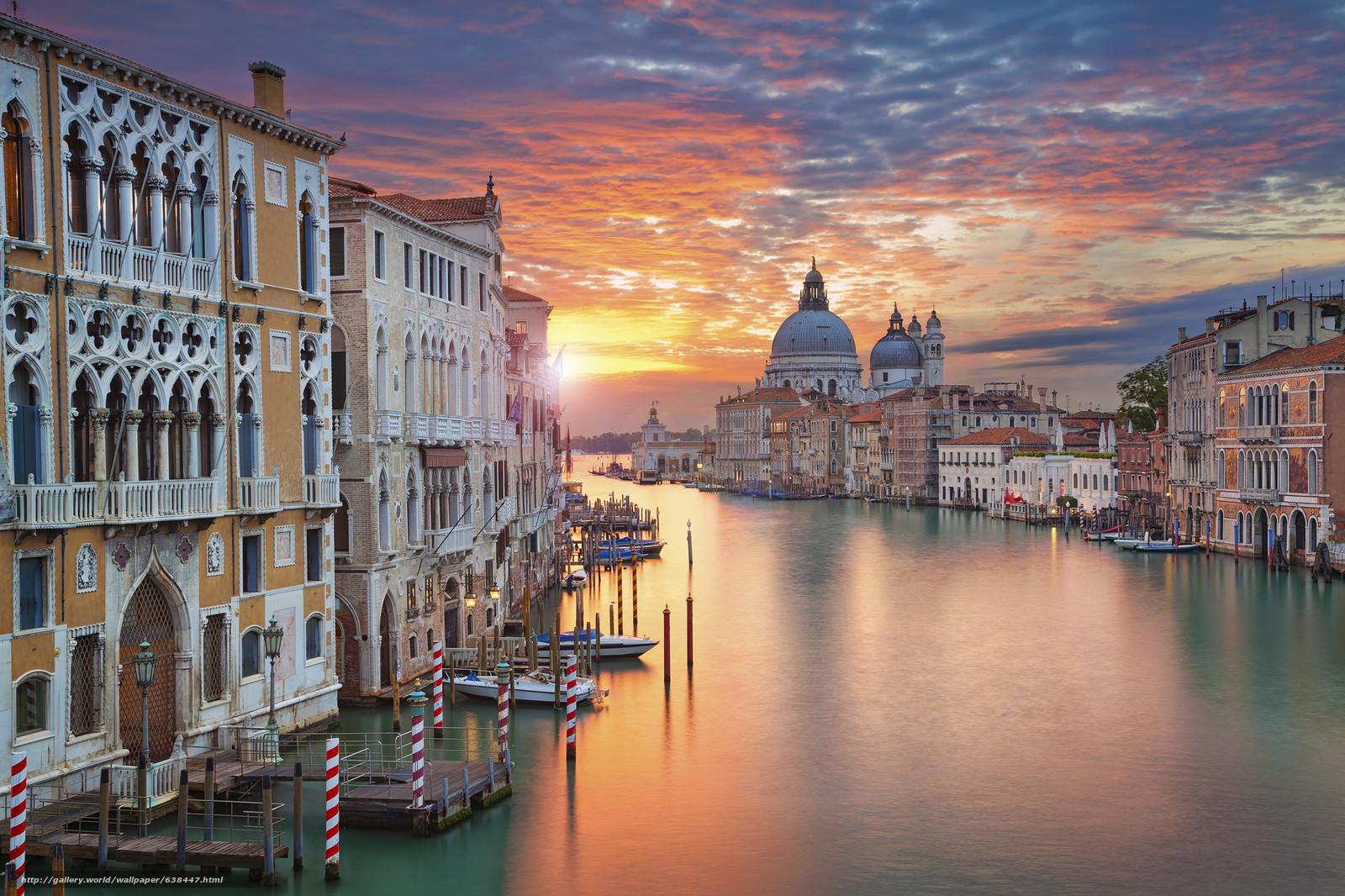Обои: венеция, канал, город, огни, ночь.