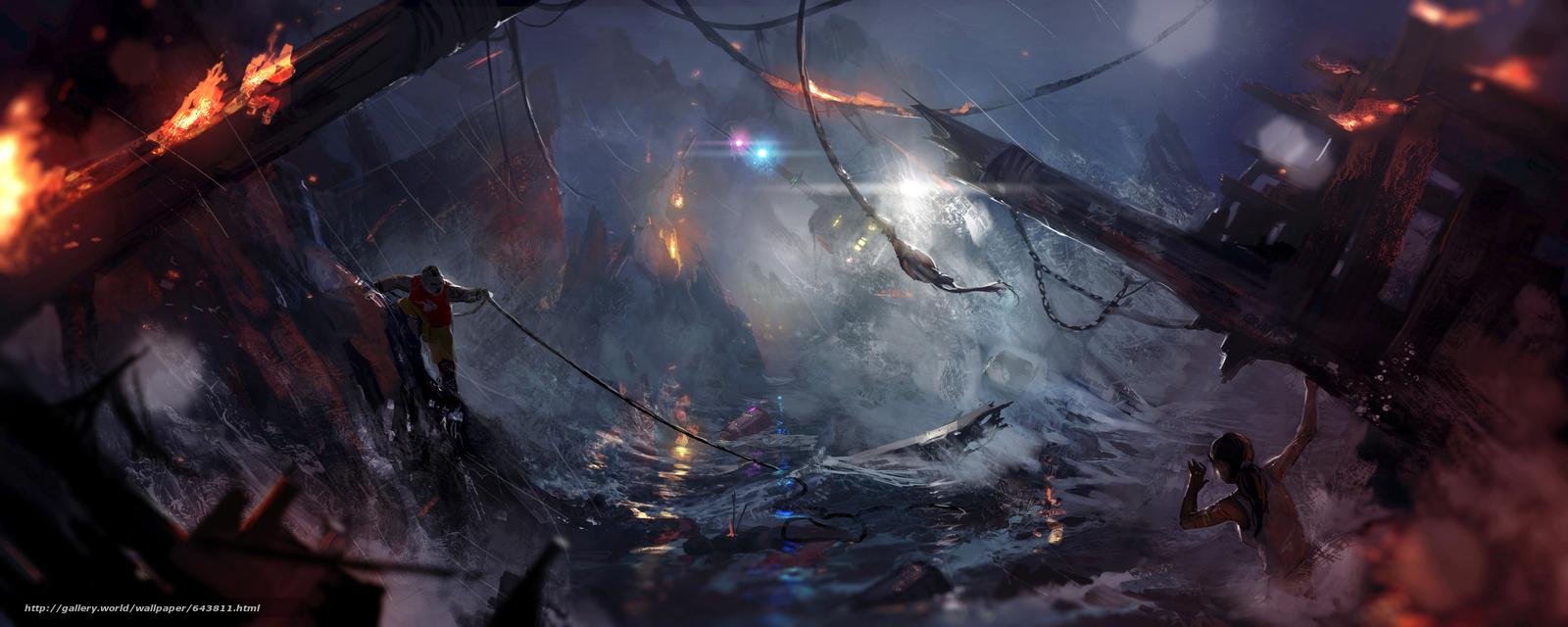 Tomb Raider, Lara Croft, shipwreck, Art