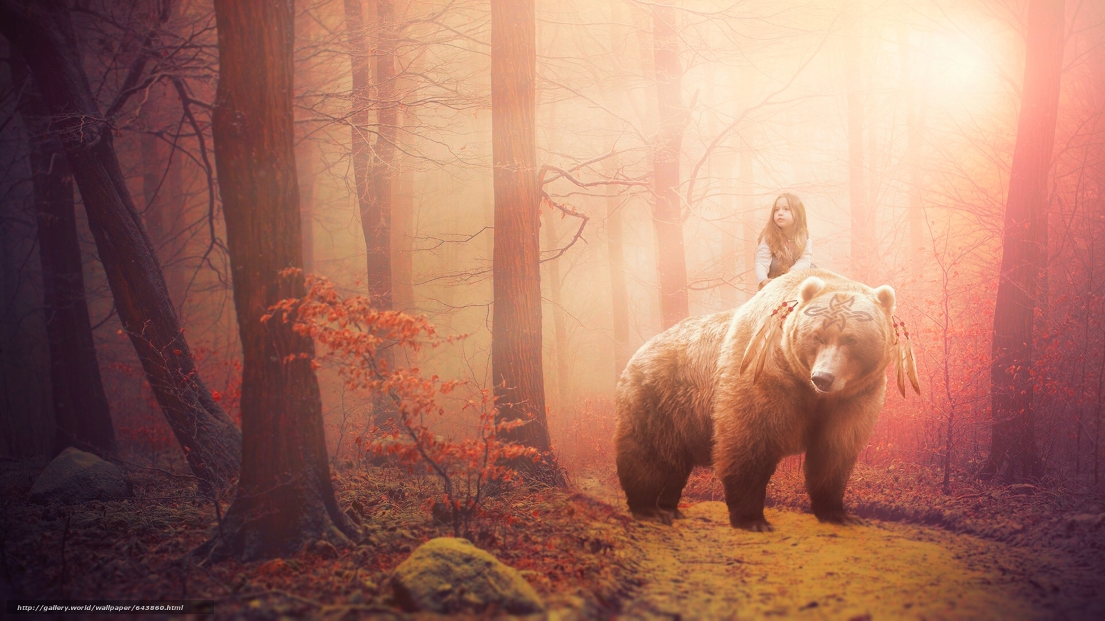 girl. bear, forest, fantasy, situation