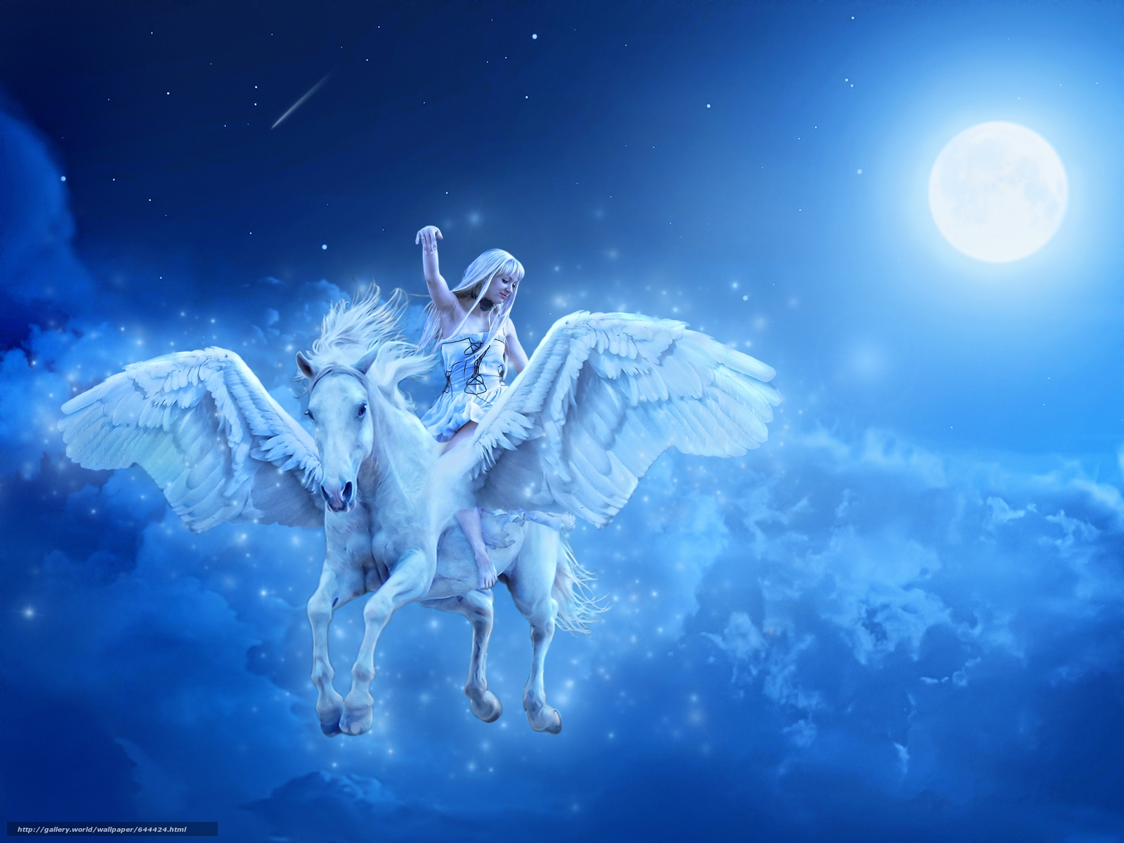 girl, horse, Pegasus, night, fantasy