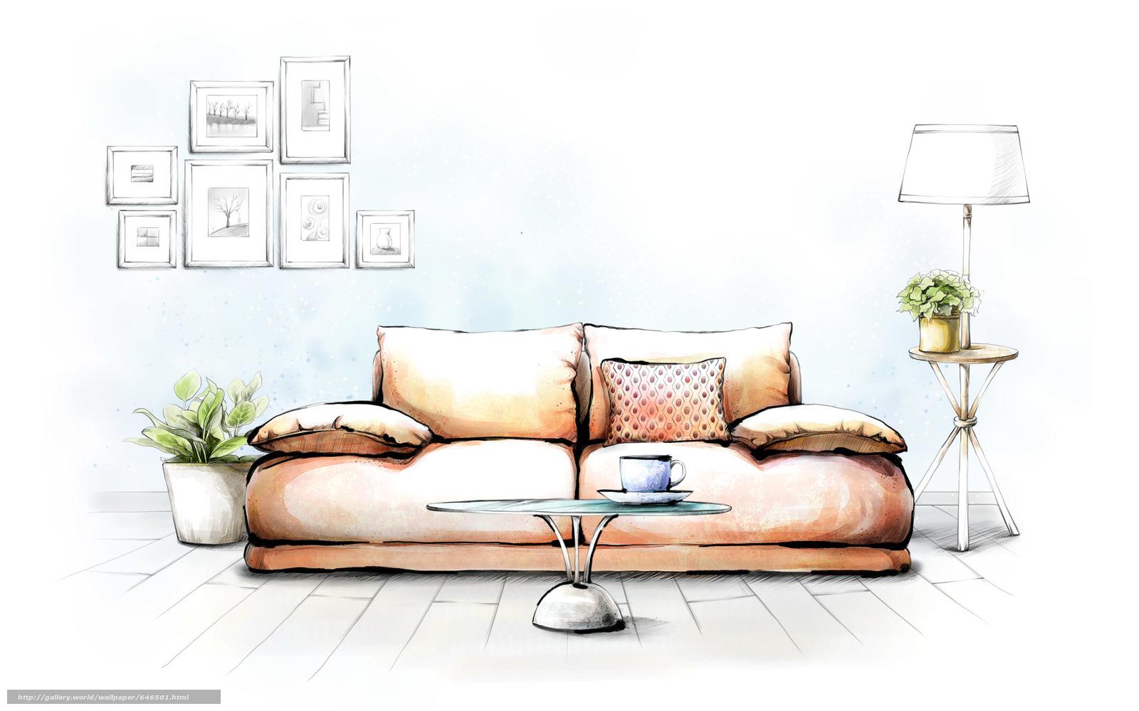 Рисунки от дизайнеров для интерьера