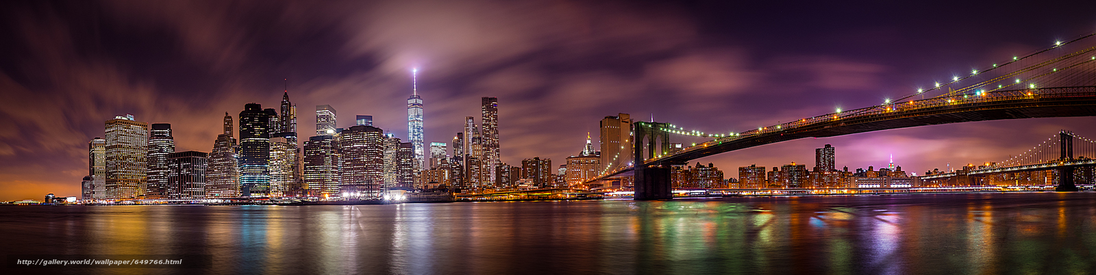 New York City, Manhattan, Brooklyn Bridge, East River, New York, Manhattan, Brooklyn Bridge, the East River, city ​​nightlife, panorama