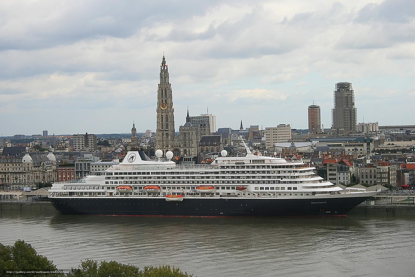 Antwerp, Belgium, Scheldt River, Antwerp, Belgium, River Scheldt, cruise liner, Liner, cruise, city