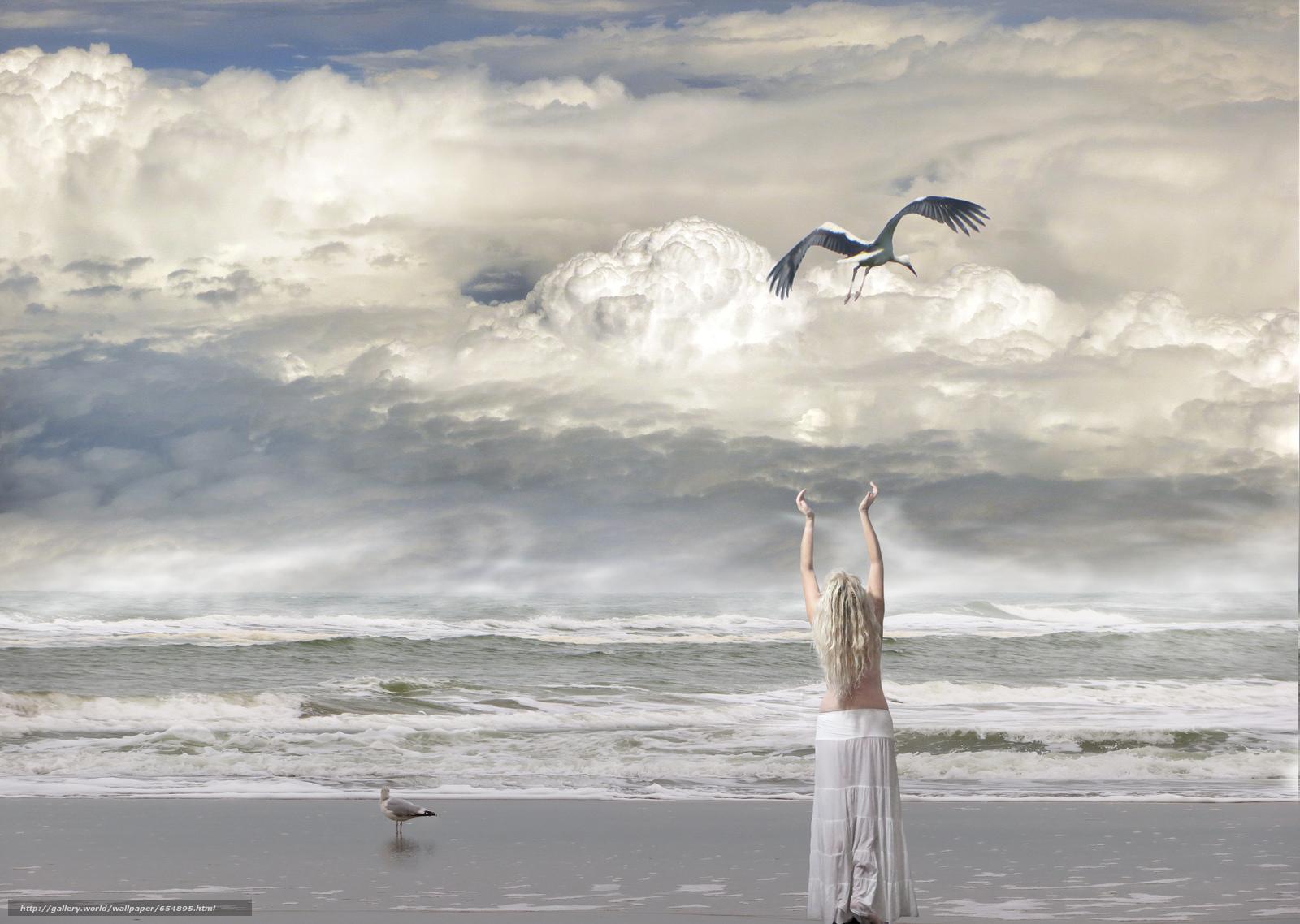 sea, waves, shore, girl, stork