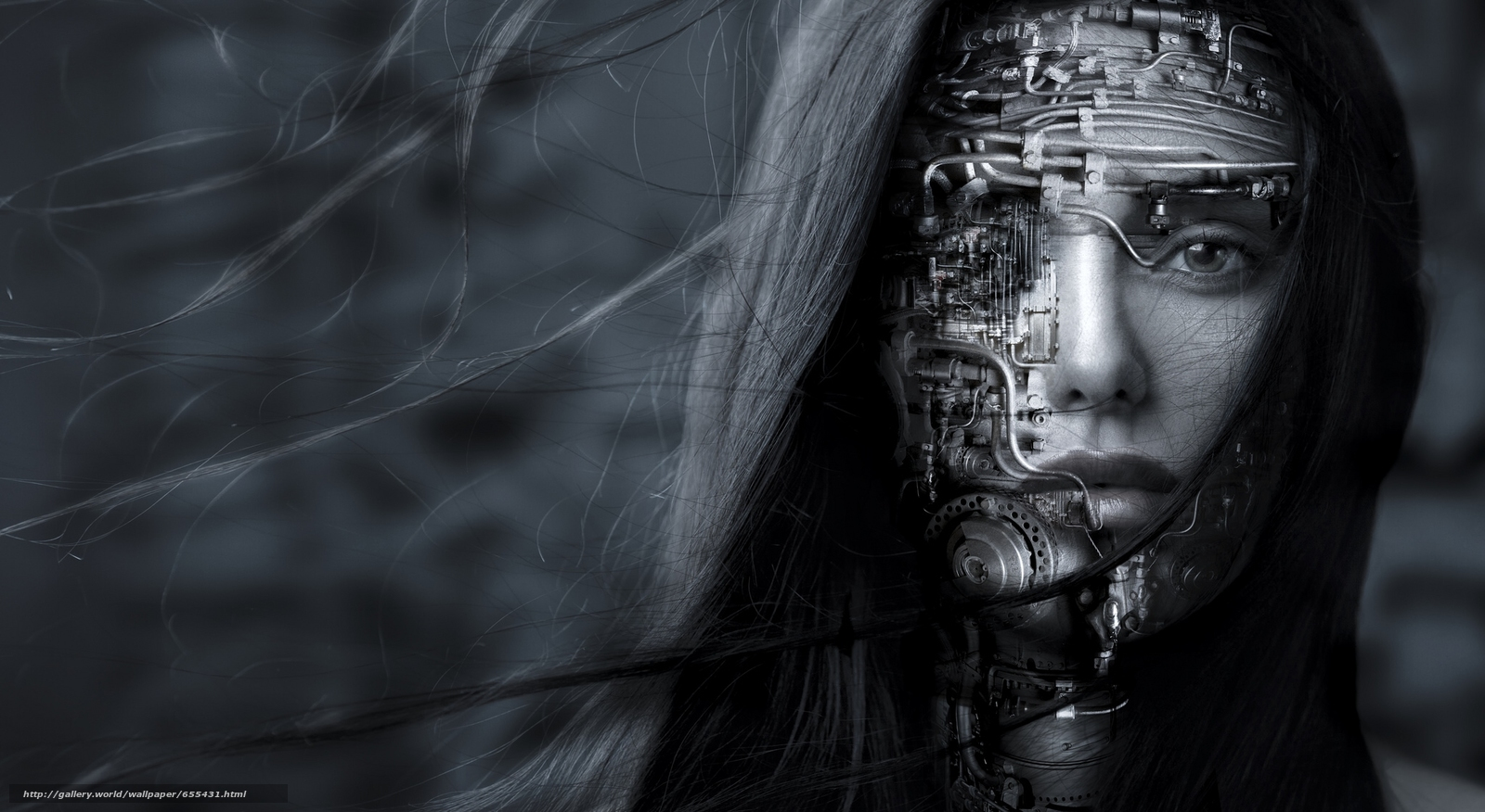 girl, robot, face, hair, view, Mono, black and white