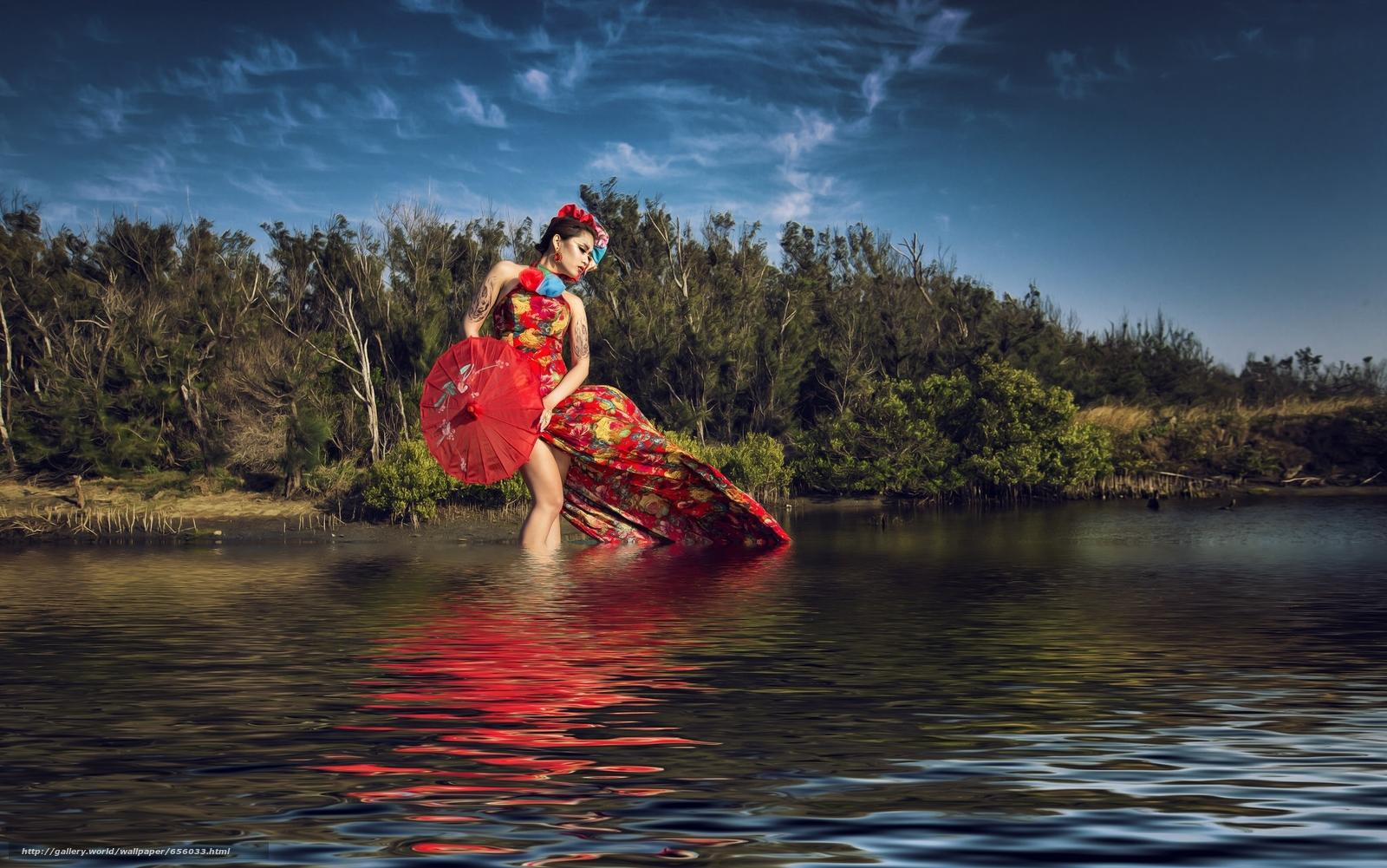 Asian, model, dress, umbrella, water, style