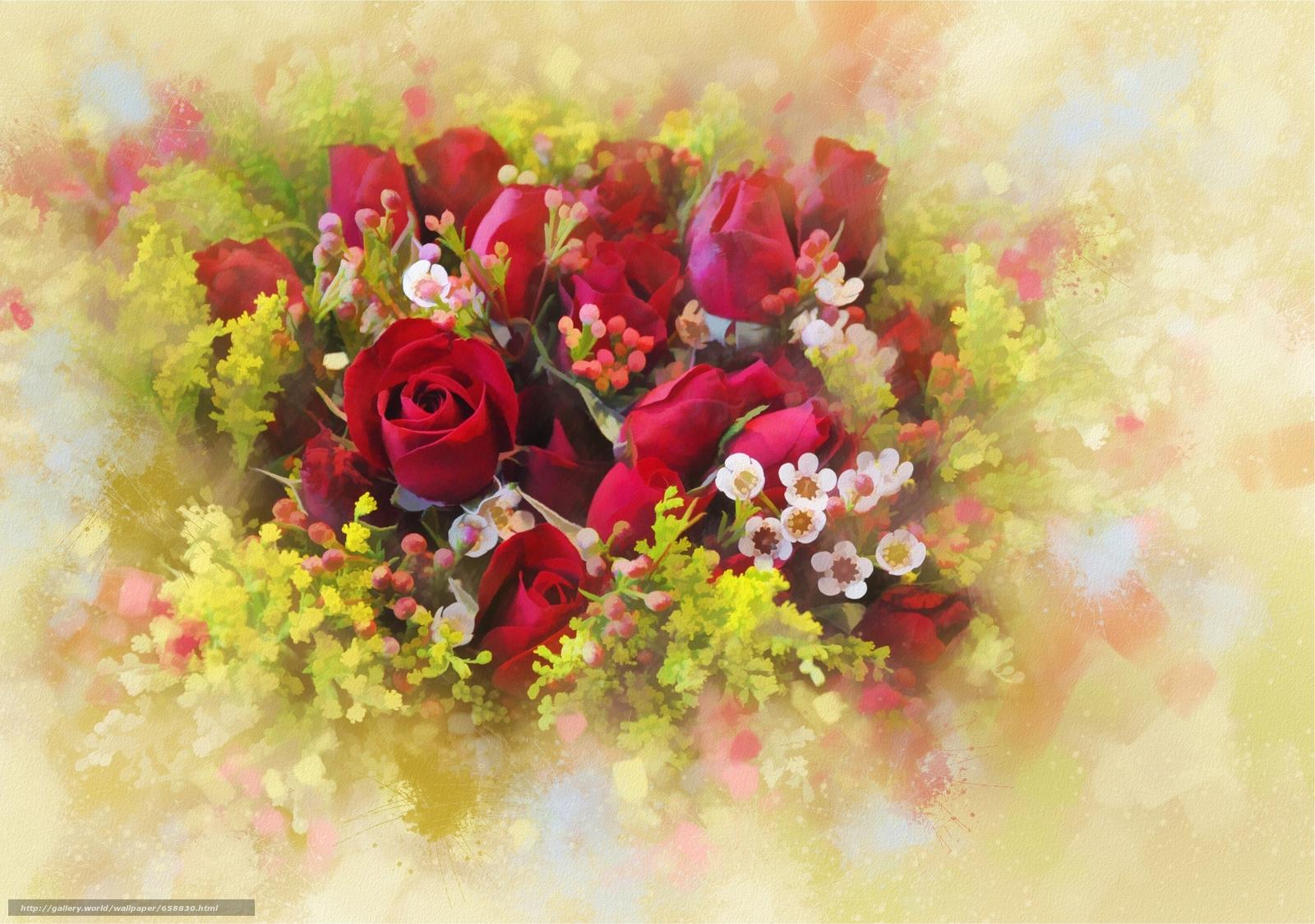 нарисованные розы обои для рабочего стола № 480957 загрузить