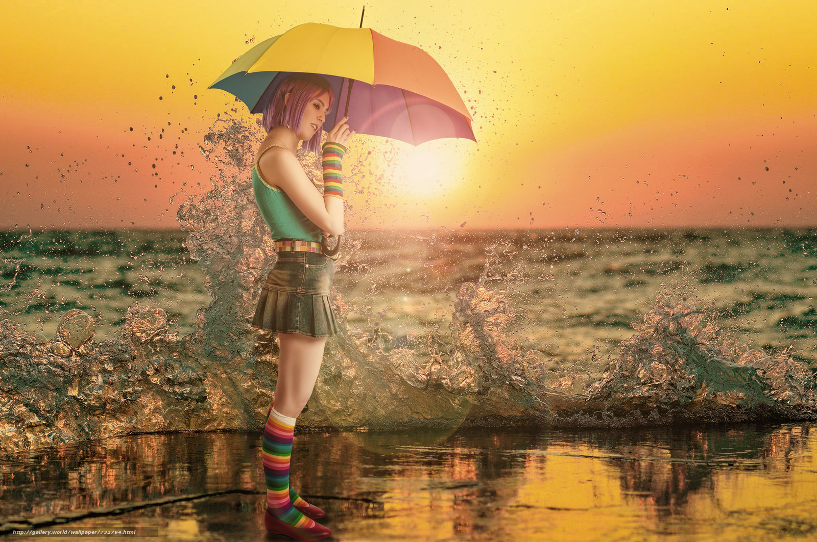 sunset, girl, umbrella, spray, sea, mood
