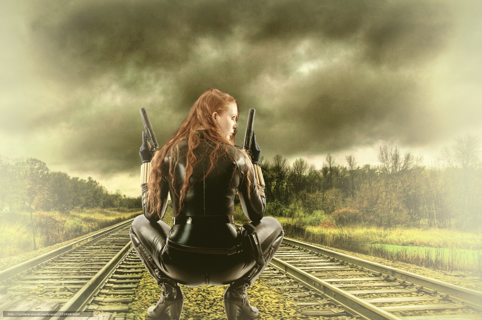 Railway, girl, warrior
