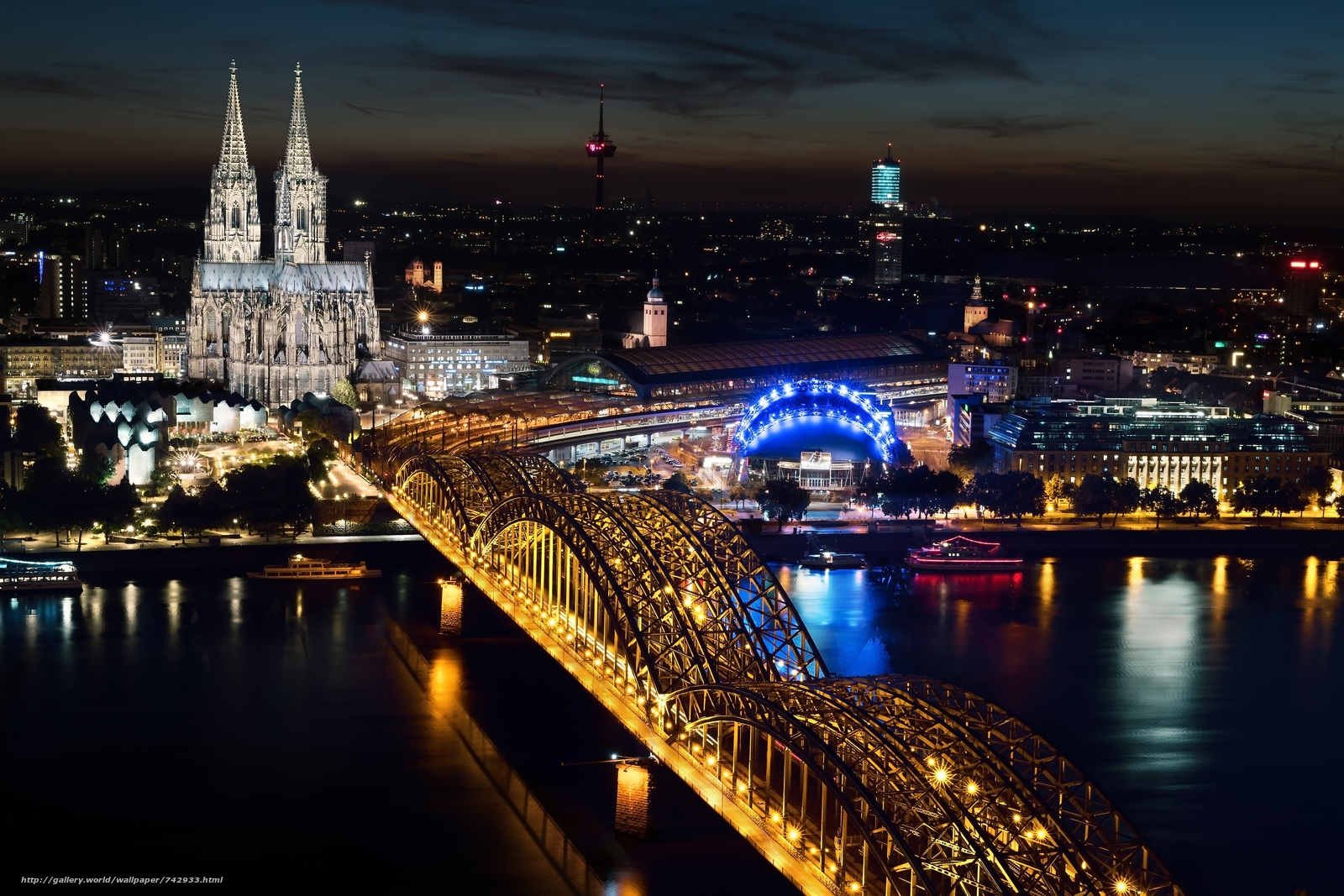 Germany, Cologne, Cathedral, bridge, River, lights, night
