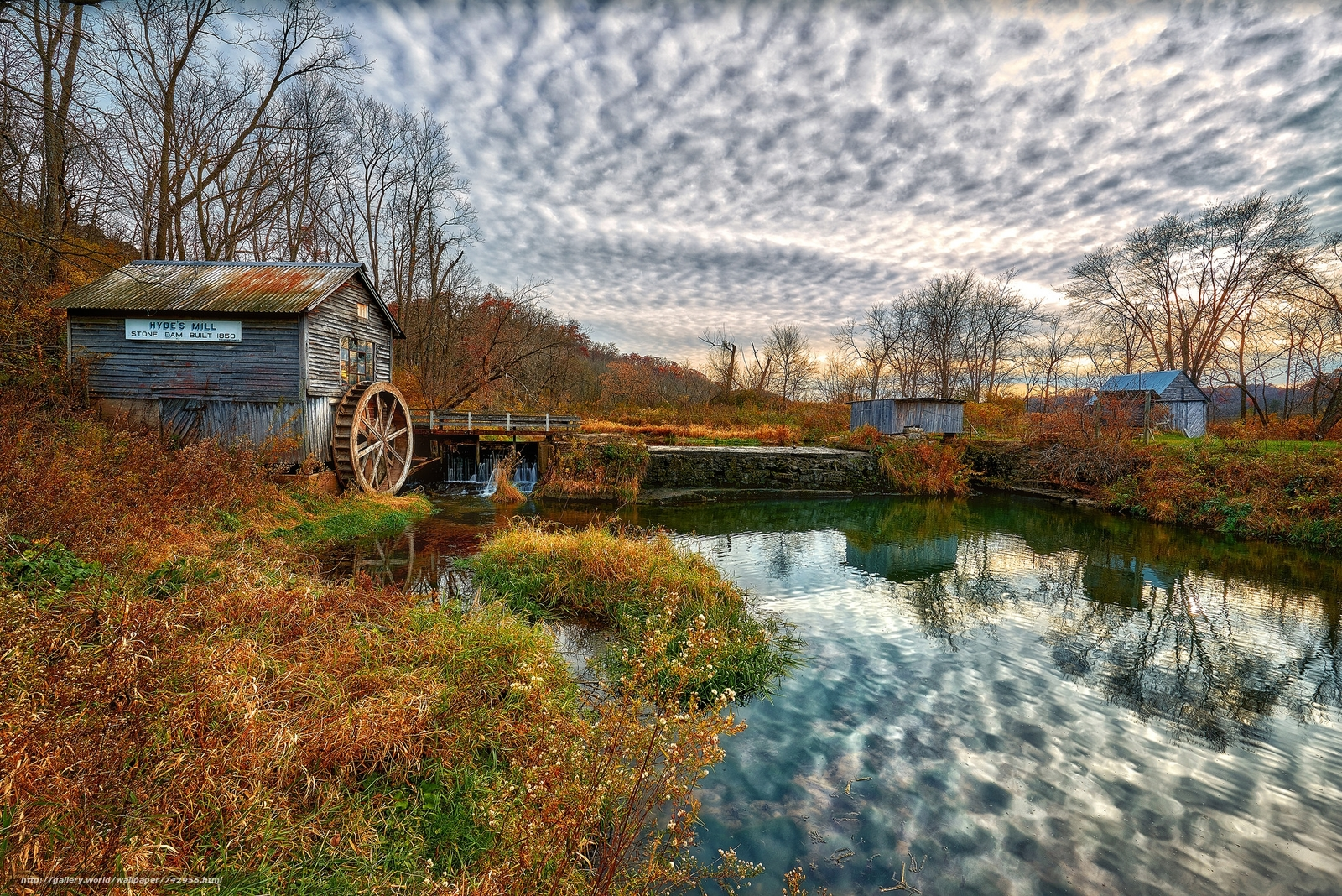 Wisconsin, Hyde's Mill in Fall, autumn, water Mill, water, trees, landscape