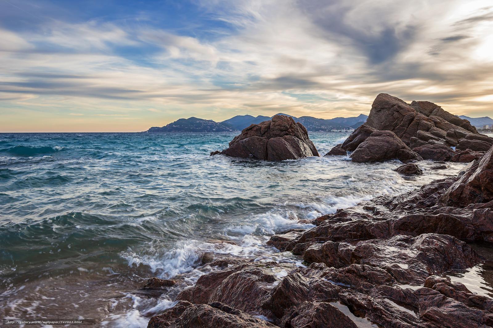 sea, rock, Coast, beach, Cannes, France, landscape