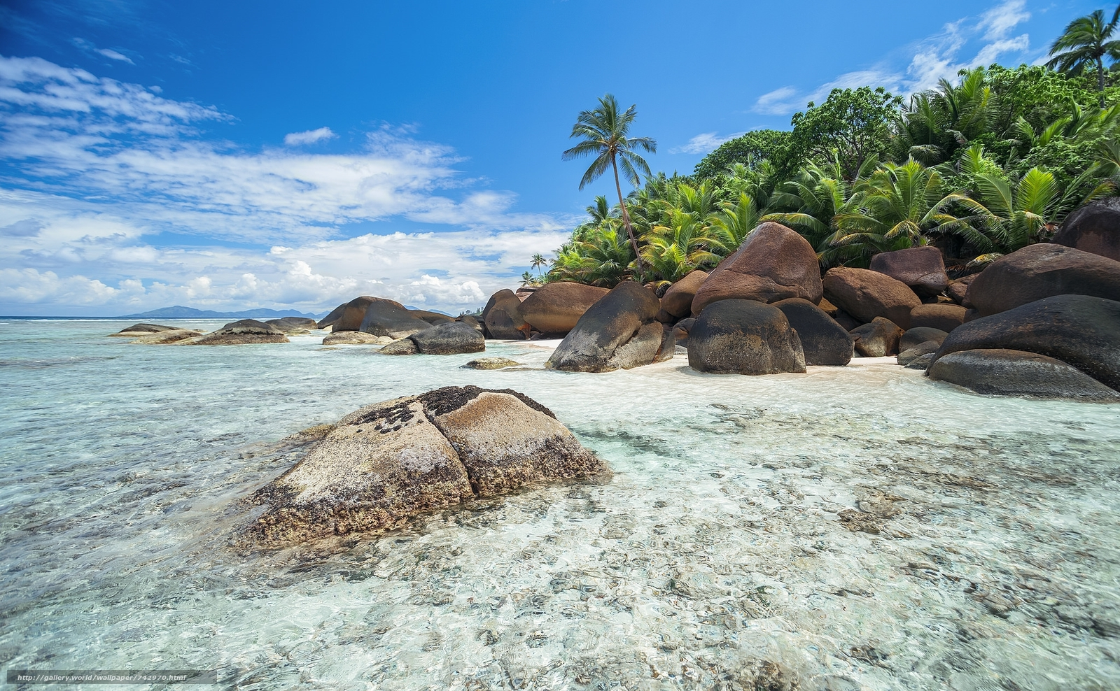 Seychelles, sea, Coast, Island, stones, palm trees, beach, landscape