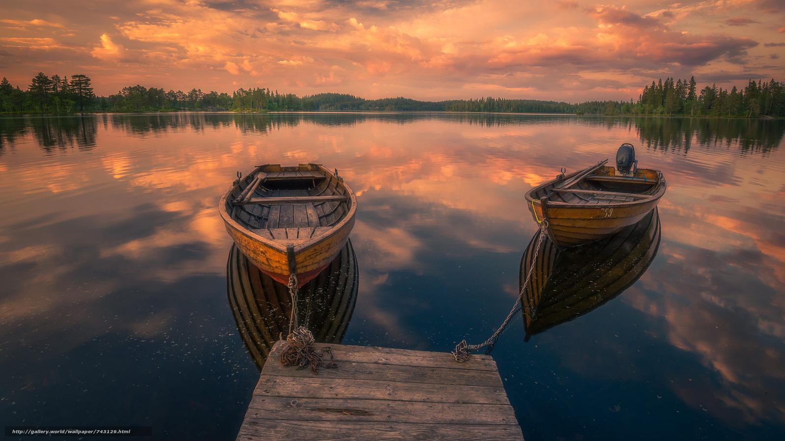 обои для рабочего стола лес река лодка