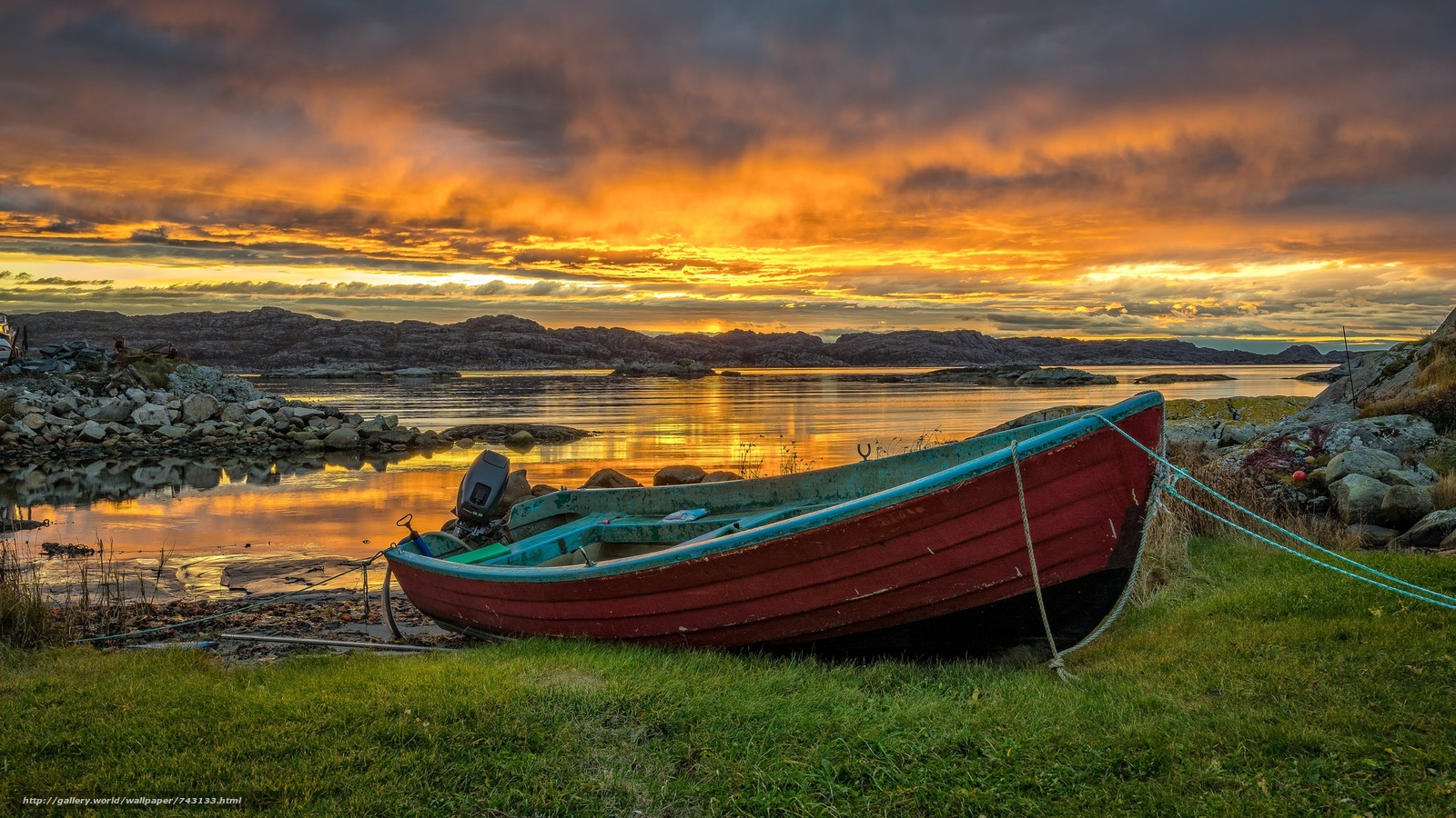 landscape, a boat, boats, water, nature, peace, relaxation, River, lake, sunset, Coast, grass, stones, bright, sky, clouds