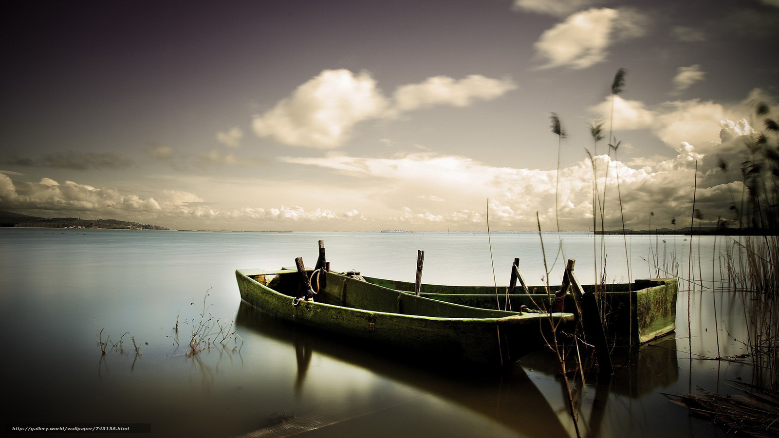 landscape, a boat, boats, water, nature, peace, relaxation, River, lake, sky, clouds