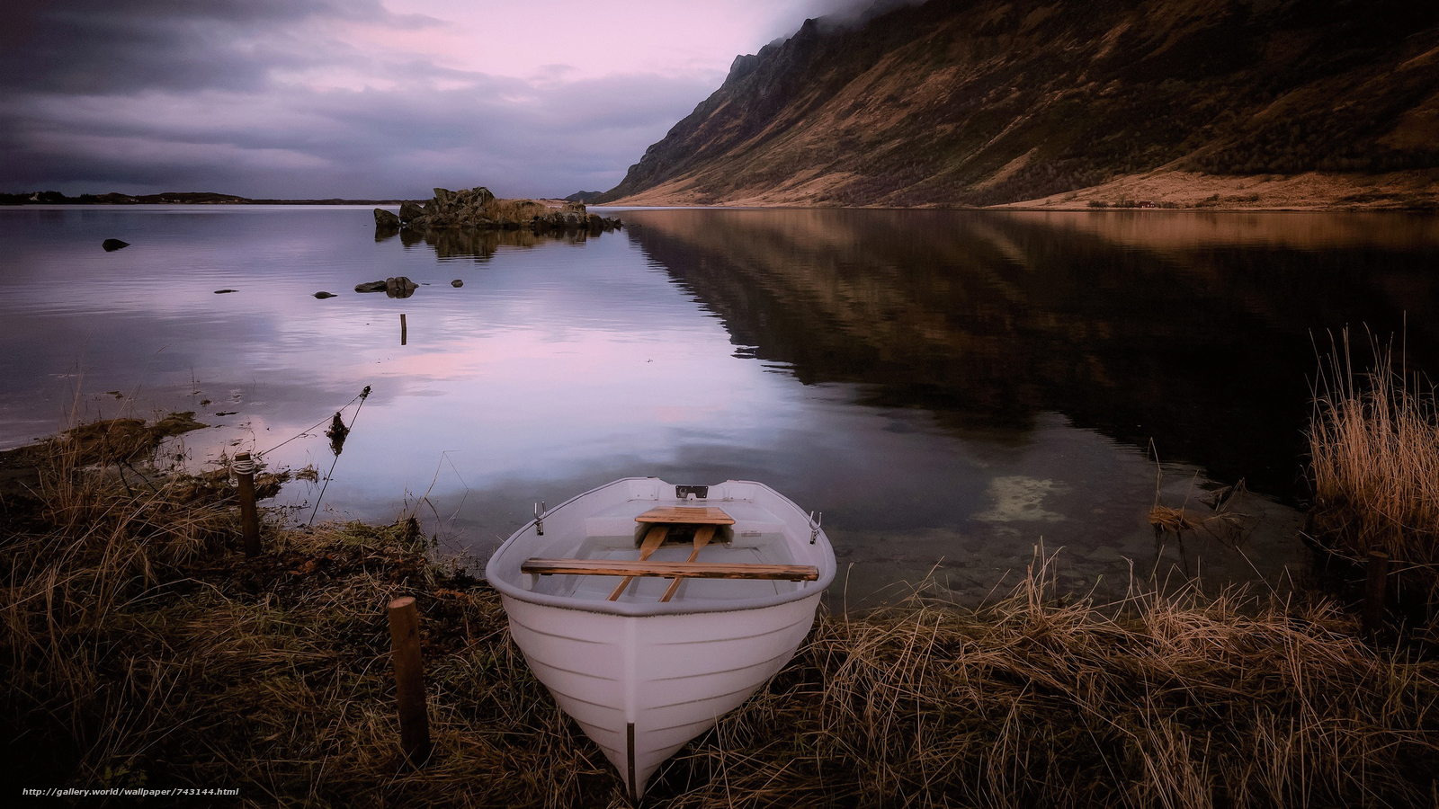 a boat, boats, landscape, nature, water, River, lake, sunset, peace, relaxation, the mountains, Coast, grass, autumn, reflection, Mainly cloudy, night